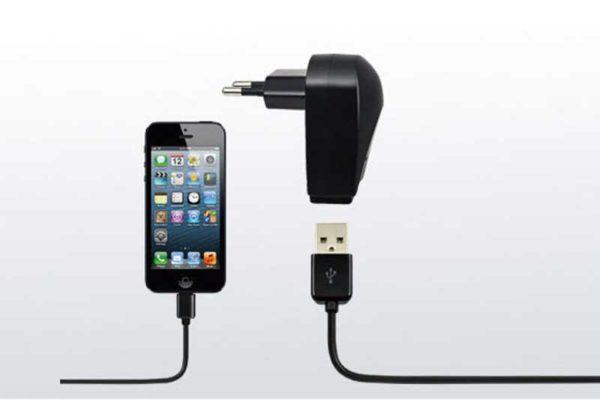 Dexim Ladegerät (1.0 Ampere) mit abnehmbarem USB Lightning Connector Kabel (Charge & Sync), 1 Meter, schwarz