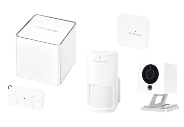 iSmartAlarm Home Security System Essential Pack - 1x Cube, 1x Motion Sensor, 1x Contact Sensor, 1x Remote Tag, 1x Spot Kamera, weiss