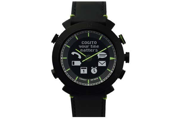 Cogito Leather - wasserdichte (100m) Bluetooth 4.0 SmartWatch mit Benachrichtigungen, schwarz
