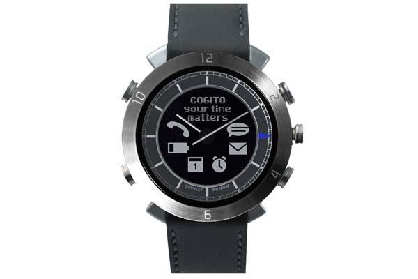 Cogito Leather - wasserdichte (100m) Bluetooth 4.0 SmartWatch mit Benachrichtigungen, grau