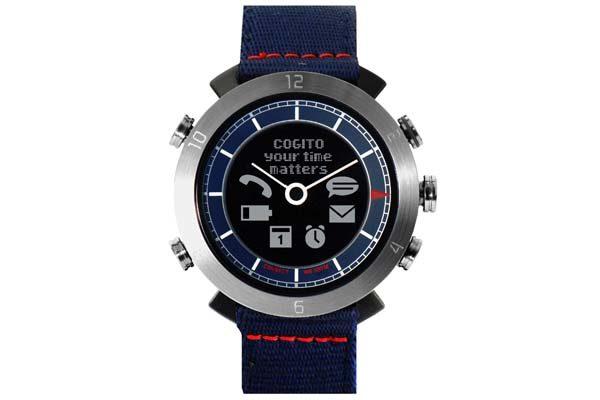 Cogito Leather - wasserdichte (100m) Bluetooth 4.0 SmartWatch mit Benachrichtigungen, navy blau
