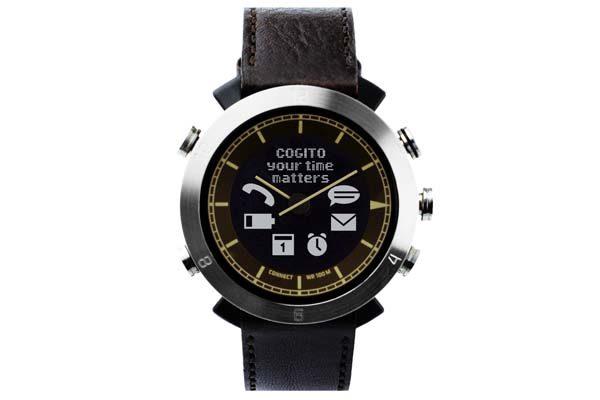 Cogito Leather - wasserdichte (100m) Bluetooth 4.0 SmartWatch mit Benachrichtigungen, braun
