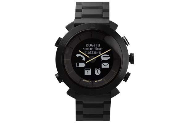 Cogito Metal - wasserdichte (100m) Bluetooth 4.0 SmartWatch mit Benachrichtigungen, schwarz