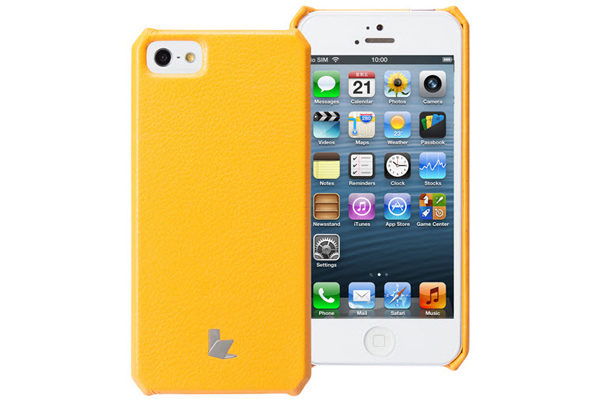 Jisoncase iPhone 5/5S/SE Wallet Classic-Case, gelb-orange