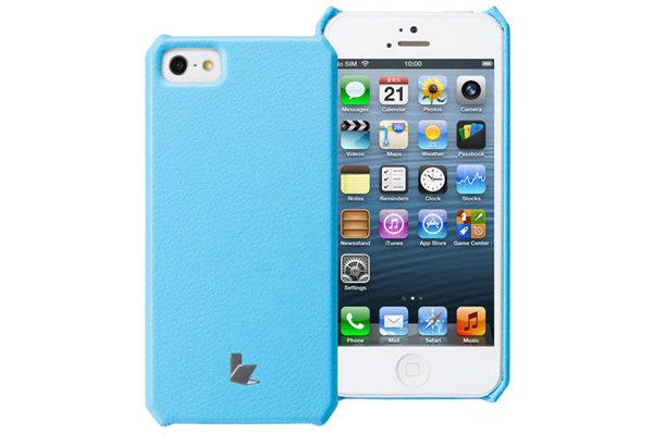 Jisoncase iPhone 5/5S/SE Wallet Classic-Case, hellblau