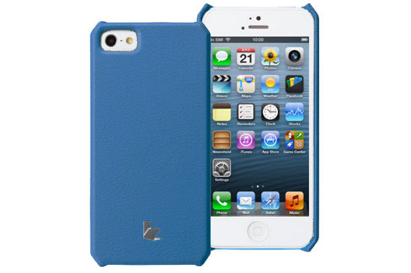 Jisoncase iPhone 5/5S/SE Wallet Executive-Case (Kuh-Leder), blau