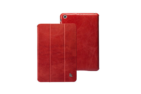 Jisoncase iPad Mini / Mini 2 Vintage Echtleder Smart Cover, rot
