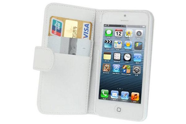 iPhone 5/5S/SE PU-Leder-Case mit Kreditkartenfächer, weiss