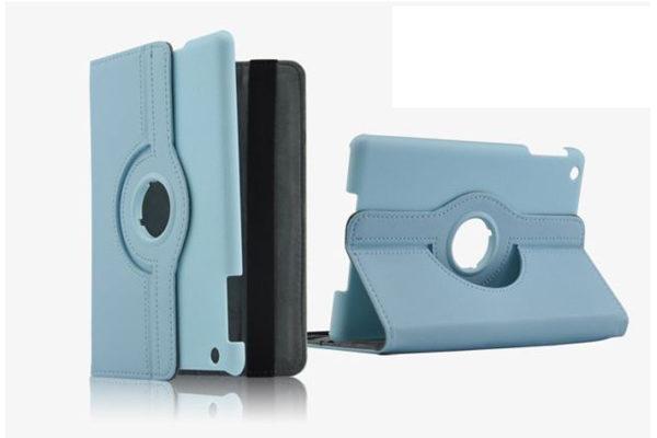 iPad Mini / Mini 2 PU-Leder-Case Rotary, hellblau
