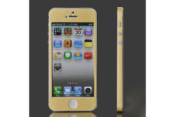 iPhone 5/5S/SE Front-Back-Seiten-Aufkleber, gold