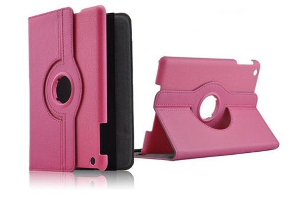 iPad Mini / Mini 2 PU-Leder-Case Rotary, dunkelrosa