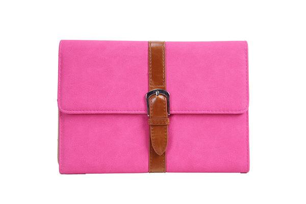 iPad Mini / Mini 2 PU Leder Etui mit Schnalle, pink