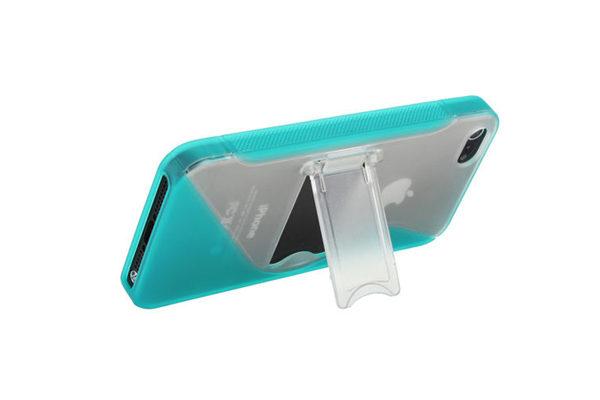 iPhone 5/5S/SE Silikon-Back-Cover mit Ständer, grün