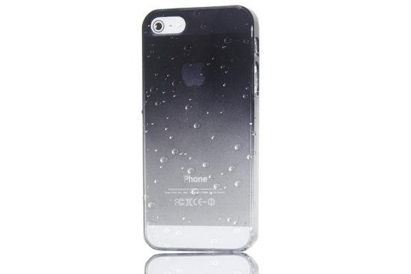 iPhone 5/5S/SE Back-Cover Wassertropfen, schwarz