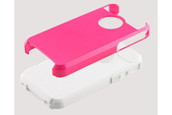 iPhone 5/5S/SE Shockproof-Case, pink-weiss