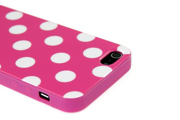 iPhone 5/5S/SE TPU-Back-Cover, pink-weiss