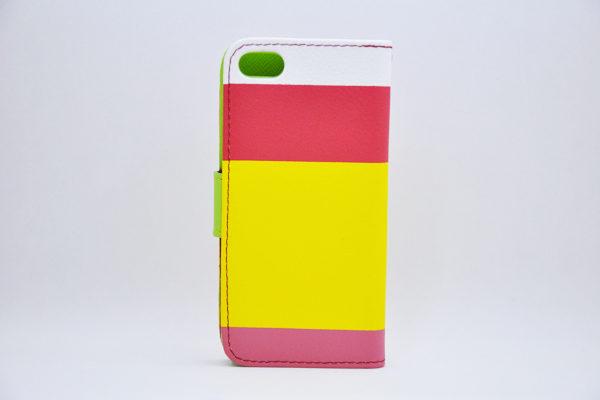 iPhone 5/5S/SE Wallet-Case mit Kreditkartenfächer, weiss-pink-gelb-rosa