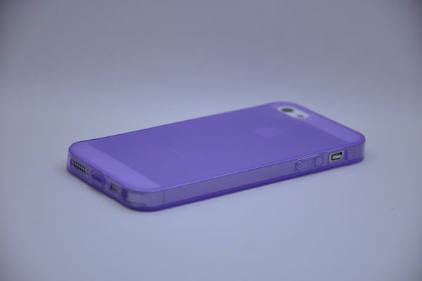 iPhone 5/5S/SE Silikon-Back-Cover, violett-transparent