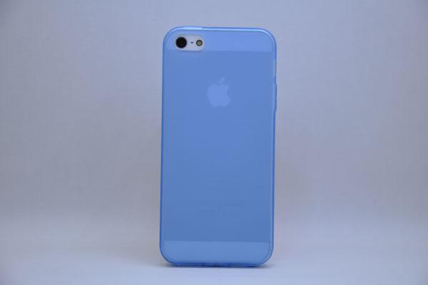 iPhone 5/5S/SE Silikon-Back-Cover, blau-transparent