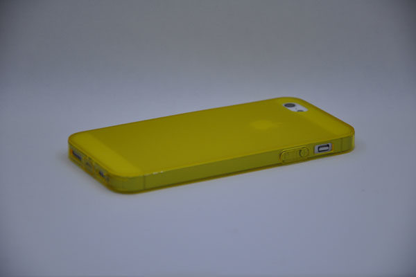 iPhone 5/5S/SE Silikon-Back-Cover, gelb-transparent