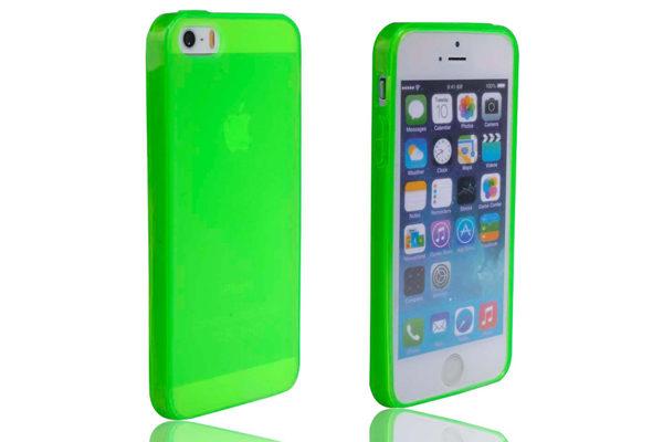iPhone 5/5S/SE Silikon-Back-Cover, neongrün