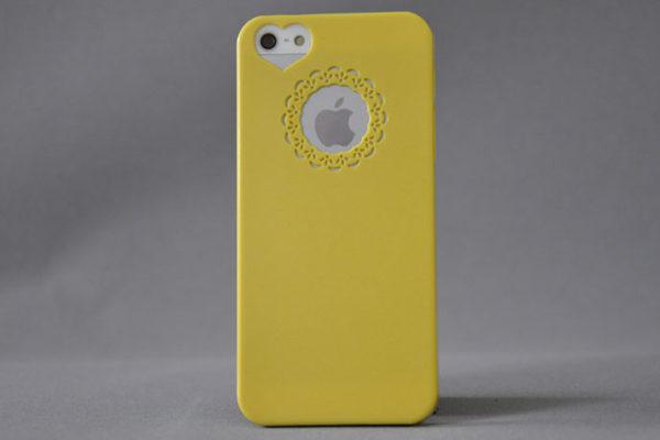 iPhone 5/5S/SE Hard-Back-Cover mit Herz-Kameraloch, gelb