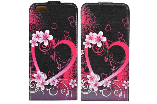 iPhone 6 Plus/6 Plus S PU-Leder-Flip-Case vertikal BLUMEN-HERZ