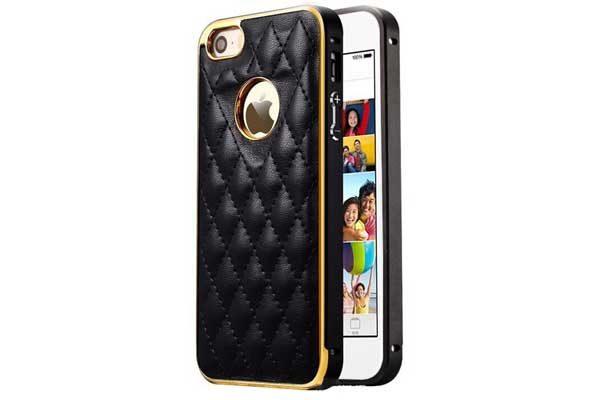 iPhone 6/6S Alu-Frame mit PU-Leder Rückseitenschutz, schwarz-gold