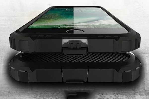 iPhone 7 Shockproof Hybrid Schutz-Back-Cover, schwarz