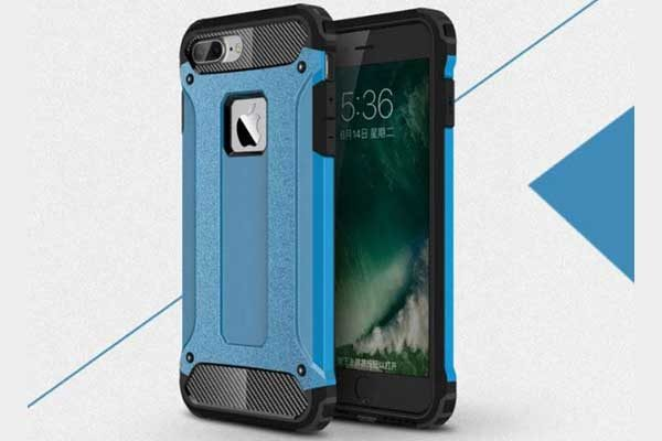 iPhone 7 Shockproof Hybrid Schutz-Back-Cover, blau