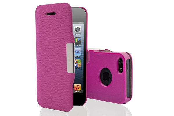 Phonix Italia iPhone 5/5S/SE Leather Portfolio Case, pink