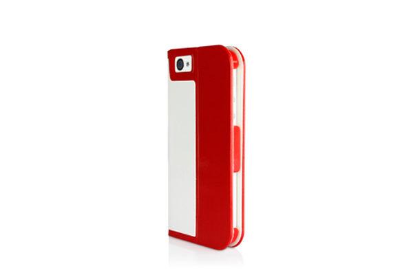 Macally Slim Folio · Hochwertiges Folio mit Standfunktion für iPhone 5/5S/SE, rot-weiss