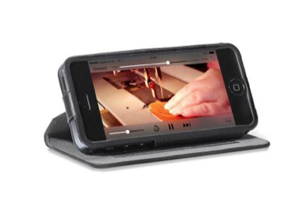 Decoded Surface Wallet - Edles Wallet mit Standfunktion und Kreditkartenslot für iPhone 5/5S/SE, schwarz