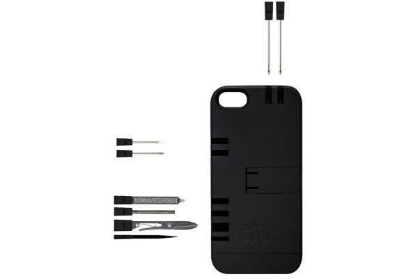 IN1Case Multifunktions-Case mit praktischen Werkzeugen integriert in der Hülle für iPhone 5/5S/SE, schwarz-schwarz