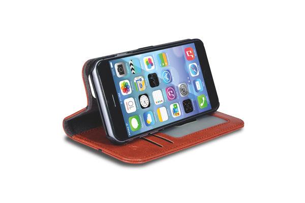 MarBlue Wallet · Hochwertiges Folio mit Kreditkartenfächer und Standfunktion für iPhone 6/6S, braun