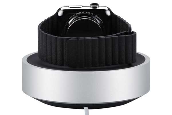 Just Mobile Hover Dock - Eleganter funktionaler Ladeständer aus Aluminium mit intelligenter Kabelaufbewahrung für Apple Watch, silber