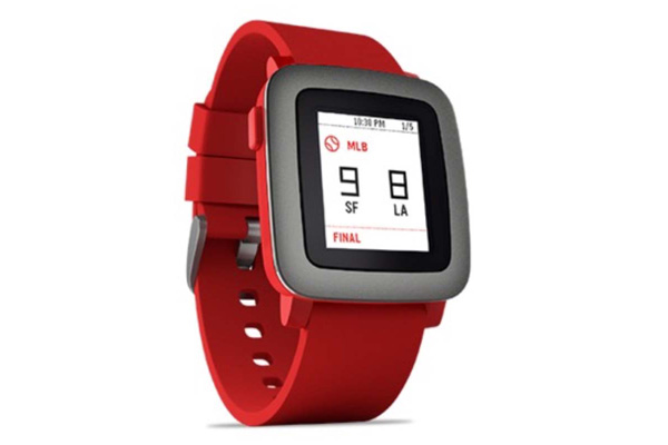 Pebble Time Smart Watch für iPhone und Android, rot