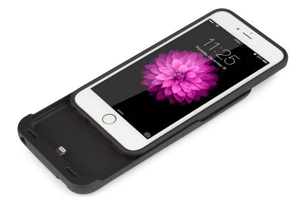 Tylt ENERGI Sliding Power Case mit 3200 mAh Kapazität & Soft-touch Feeling für iPhone 6/6S, schwarz