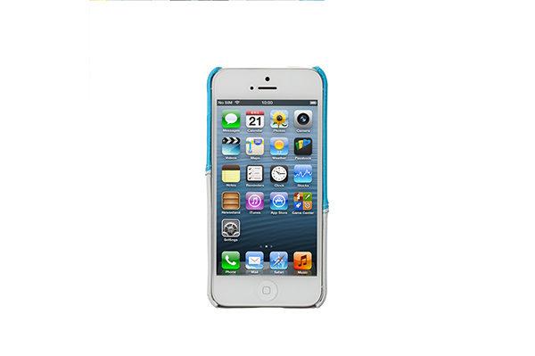 Jisoncase Fashion Strip Case iPhone 5/5S/SE, hellblau-weiss