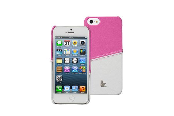 Jisoncase Fashion Strip Case iPhone 5/5S/SE, pink-weiss