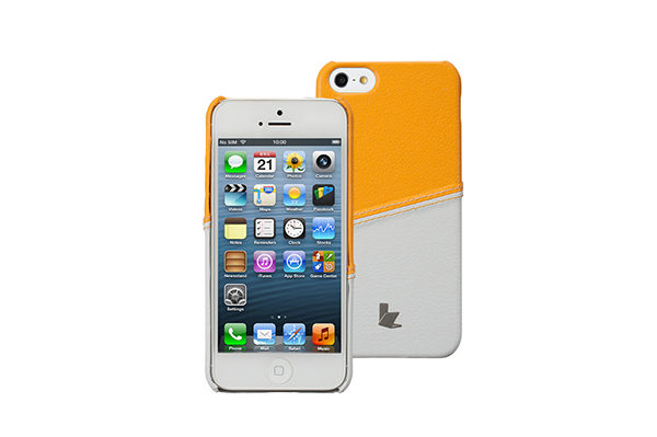 Jisoncase Fashion Strip Case iPhone 5/5S/SE, gelb-weiss