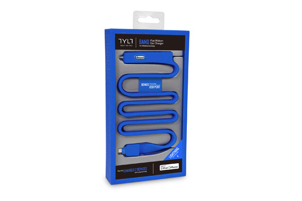 TYLT BAND Car Charger für iPhones/iPads mit Lightning-Anschluss, blau