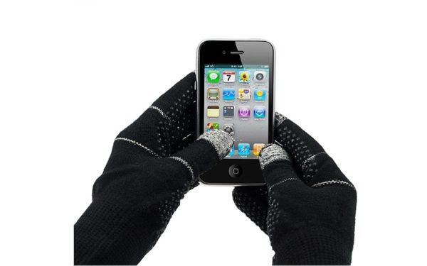 Telefingers Handschuhe mit Touchscreen-Funktion, 3 Finger, schwarz-grau, Grösse M