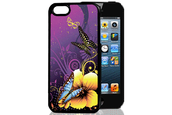 Bridge94 iPhone 5/5S/SE 3D-Back-Cover, Blume & Schmetterling