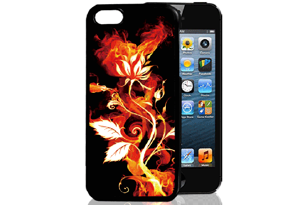 Bridge94 iPhone 5/5S/SE 3D-Back-Cover, Feuer & Blume