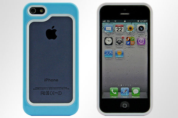 Bridge94 iPhone 5/5S/SE Hybrid-Bumper, hellblau-weiss