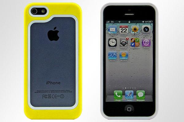 Bridge94 iPhone 5/5S/SE Hybrid-Bumper, gelb-weiss
