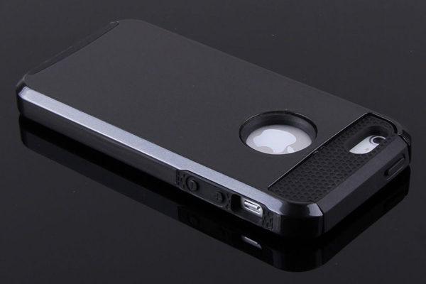 Bridge94 iPhone 5/5S/SE Shockproof-Back-Cover, schwarz