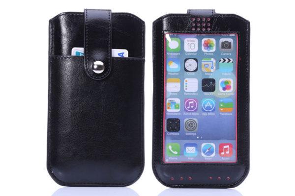 Bridge94 iPhone 6 Plus/6 Plus S/7 Plus PU-Leder-Pouch mit Kreditkartenfach und Sichtfenster, schwarz-rot