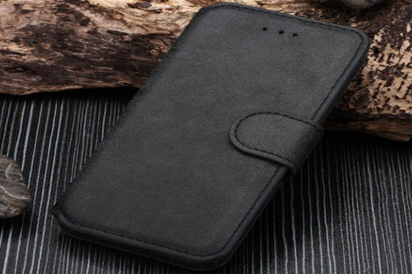 Bridge94 iPhone 6 Plus / Plus S Leder-Wallet mit rauher Oberfläche, antrazith